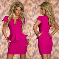 4 Color Plus Size 2014 New Sexy Peplum Bodycon Bandage Dress Elegant OL Business Dress Women Work Wear Summer Casual Dress