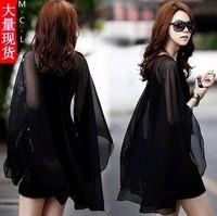 New 2014 women summer dress solid sleeveless sexy chiffon dress korea fashion lace dress girl casual dress plus size loose S-XL