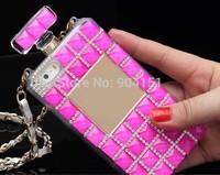 Cellphones Luxury Perfume Bottle Lanyard  Bling Diamond Case For iphone 5 5s 4 4s samsung S4 S5 note 2 3 Handbag TPU Back Cover