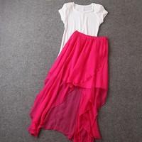 Brand Fashion summer new women's solid white short sleeve T-shirt T shirt+elastic waist Rose Red skirt Leisure suit