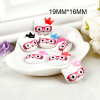 Free shipping 200pcs/lot 19MM*16MM Flat resin DIY decorative bespectacled Princess Crown Kitty cabochons7 colors mixed for sale!