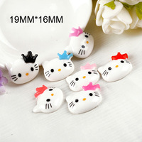 Free shipping,200pcs/lot  19MM*16MM Flat resin DIY decorative Princess Crown Hello Kitty cabochons, 7 colors mixed for sale!