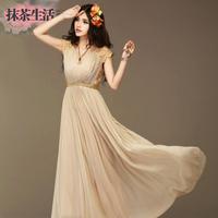 2colors 2014 New Lace Princess Bohemia high waist Maxi Long Chiffon Dress Women High Quality Pleated Wave plus size! S- XXL!