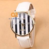 2014 New Fashion student unisex dress Charm PU Leather Stripes Print bottom Analog Quartz brilliant Watch G-8009#