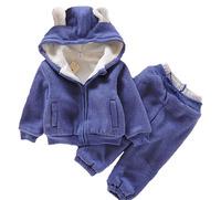 Brand kids winter clothing set long sleeve thick fleece cartoon bear 2pcs suit for children boys and girls warm hoodies set