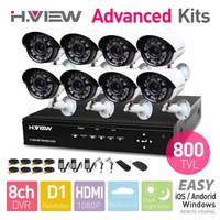 8CH D1 HDMI DVR 8 PCS 800TVL IR Outdoor Weatherproof CCTV Camera 24 LEDs Home Security System Surveillance Kits No HDD