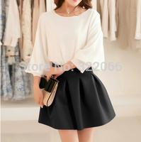 free shipping 2015 summer New women's small short skirt high waist pleated puff skirt spring and summer bust