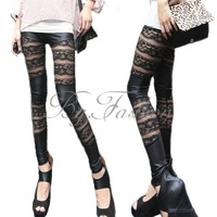 2014 Slim Women Casual Punky GothicSexy Women Faux Leather Lace Stretch Skinny Legging Pant