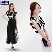 Korean Fashion Elegant Dress New 2014 Summer Spring O-Neck Print Lace Stripe Chiffon Casual Plus Size Bohemia Women's Long Dress
