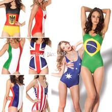 2014 Sexy Mulheres One Piece Swimwear World Flags Brasil Austrália Canadá França Itália Reino Unido EUA Black Milk Swimsuit sexy maiô(China (Mainland))