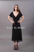 Free Shipping mid-calf mother of the bride dress V-neck black chiffon dress plus size