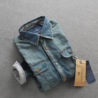 Men Jeans coat 100% Cotton Men Jeans Shirt Men Casual Shirt Slim Fit Long-Sleeves Denim Clothing CX850790