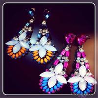 New Brand Earrings Vintage Crystal Earring Colorful Rhinestone Dangle Earrings for Girls 2014 New Arrival