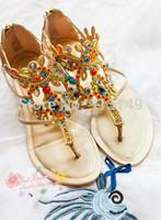 New 2014 elegant genuine leather fashion CZ diamond summer plug size dolly women shoes free shipping