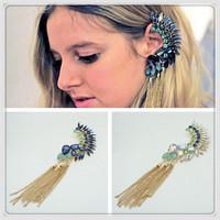 Punk Crystal Earring Gold Chains Stud Earrings 2014 New girls rhinestone Earrings Fashion Ear cuff for pierced ears