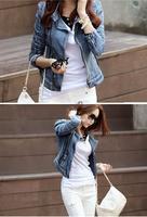 2014 New Winter S-L fashion Star jeans women Punk spike studded shrug shoulder Denim cropped Vintage jacket coat B11 16123