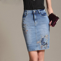 Chinese Style Embroidery High Waist Jeans Skirt Women's Summer 2014 Pockets Female Floral Fashion Denim Skirt For Girls