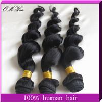 "Unprocessed 100% Real Human Hair Queen Hair Malaysian Virgin Loose Wave Hair 5 Bundles Mixed Length 12""-24""  Natural Color #1b"