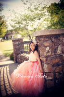 Ivory Satin Gorgeous Creamsicle Girl Tutu Train Dress Flower Girl Dress Summer Dress For Party Birthday Evening Prom Customize