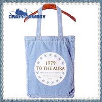 Crazy Cowboy brand fashion 1997 vintage letters printing stars washed denim blue jean tote canvas handbag  for women