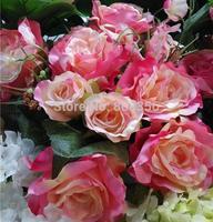 "NEW 40cm/15.75"" Length Artificial Silk Flowers Simulation Rose Camellia Green/Pink Eight Stems per Bunch Wedding Shoot Props"