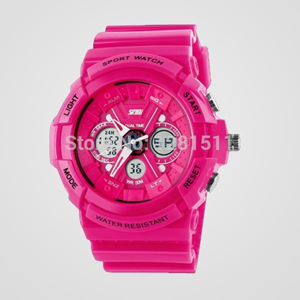 новый мужской 2014 военные часы спортивные часы цифровые кварцевые dual time сигнализации хронограф наручные часы погружения плавать 6 цветов