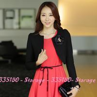 L-3XL Elegant Short sweet knitted shawl jacket Laides blazer women tops cardigan with Corsage2014 New Spring Female coat 9703