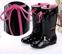 Girls Boots 2014 New Spring Winter Genuine Leather Child Rubber Boot For Kids Girl High Knee Children Shoes Waterproof