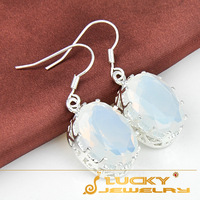 HOT Charming Women Jewelry Classical Rainbow Moonstone Crystal Silver Dangle Earrings 100% hand made
