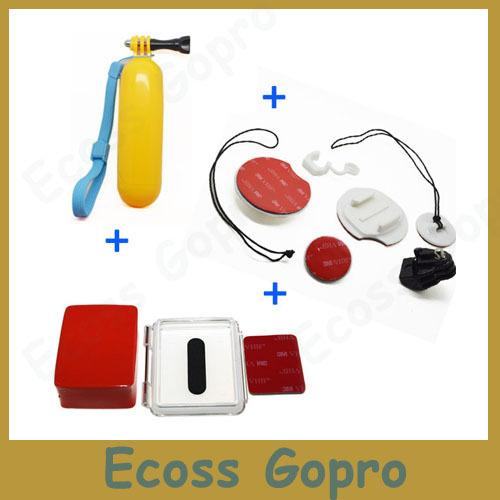 Gopro серфинг доски для серфинга + поплавок плавающей ручной + плавающий поплавок + водонепроницаемый бэкдор чехол для gopro герой 4/3 + аксессуары