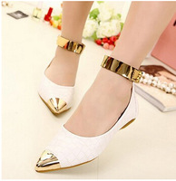Freeshipping  Korean Office Lady Women  Ankle Strap Metal Decoration Pointed Toe Flat Shoes With Black And Black Color