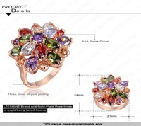 Free shipping Unique Fashion Multicolor 18K Rose Gold Plated AAA Swiss Zircon Engagement/Weddding Rings HQ0365-b