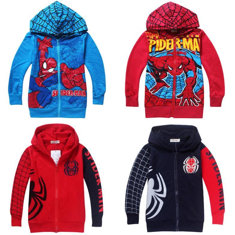 al dettaglio spiderman ragazzi vestiti 2014 primavera autunno dei bambini cappotto ricamato giacche di felpa con cappuccio cartoon bambini vestiti abbigliamento bambino
