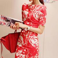 S-XXL 2014 new spring summer women dress boat neck red/black dress short-sleeved print dresses Fashion women clothing