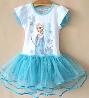 Hot! Fashion Frozen dress Elsa Anna printed  blue sequins tulle dress  Elsa Anna princess dress Party dance dress 2-6 Ys