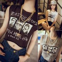 EAST KNITTING New 2014 Summer BEST IE BOYS Print Women t-shirt Letter short Tanks Crop Top Fashion Women's clothing camis