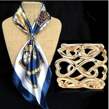 Hot & new free shipping 2014 fashion jewelry high quality brand gold silver plated Hollow out heart scarf clips brooch for women