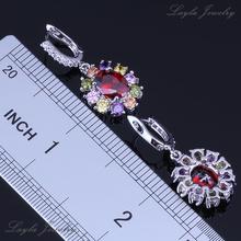2014 Trendy Silver 18K Gold Plated Earrings Womens Wedding Jewelry Red Garnet Multicolor CZ Diamond Drop