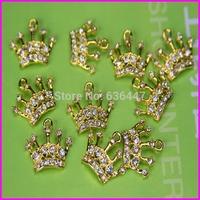 Wholesale! 40pcs Newest gold tone crown pendant crystal rhinestone princess crown pendant charm jewelry making Accessories