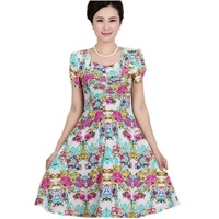 [SH004]Wholesale L--4XL Middle-aged and old big yards ice silk dress son fertilizer plus-size elderly dress with short sleeves