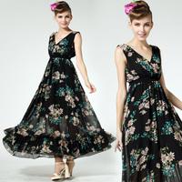 Hot Sale New Spring Summer New Women's Sexy Dress V-neck Cascading Ruffle Elastic Slim Floral Print Chiffon Dress 8559#