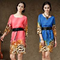 Women New Arrival Fashion Plus Size Chiffon One-piece Dress Women's Summer Leopard Print Dress With Belt 8116#