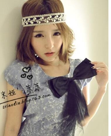 One piece Fashion Womens Lace Pearl Beads Headhand Hairband Elastic Hair Head Band Free Shipping(China (Mainland))