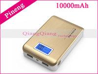 Original Pineng Power Bank 10000mAh PN-928 Dual USB LED Flashlight For Lenovo S820 S960 A300T A388T With Retail Box/Gold