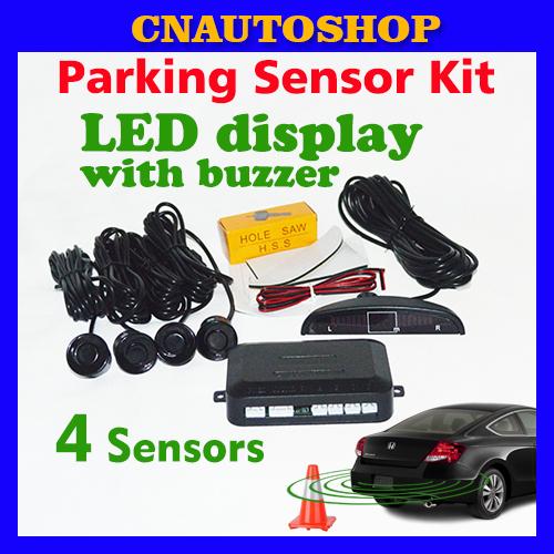 Car LED Parking Sensor Kit Display 4 Sensors 22mm 12V for all cars Reverse Assistance Backup Radar Monitor System Free Shipping(China (Mainland))