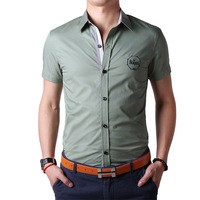 2014 factory brand new men's cotton short-sleeved shirt solid color men's shirt casual shirt tide male male