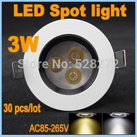 30pcs/lot 3W LED Anti-glare Down Light Spot light White shell Aluminum Material 85-265V 300LM LED Ceiling Lamp