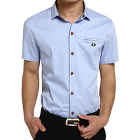 Y&G Plus Size XXXL Free Shipping Six Colors Men's Casual Slim Fit Lapel Collar Cotton Printing Short Sleeve Shirt Shirts