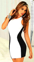 Wholesale Free Shipping Women Sexy Dress Party Dress Clubwear  Black white color 3218