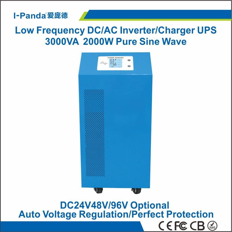 CE RoHS 24v/48v/96v 2000w solar inverter, hybrid inverter 2000w, grid tie charger 15A,LCD LED,AVR UPS peak power 4000W 4KW(China (Mainland))
